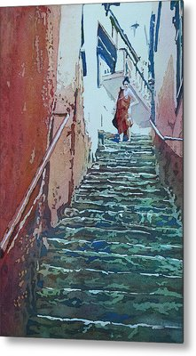 Villiage Stairs Metal Print by Jenny Armitage