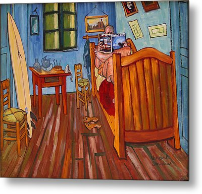 Vincents Bedroom In Arles For Surfers-amadeus Series Metal Print by Dominique Amendola