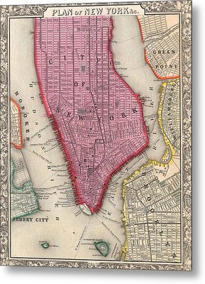 Vintage 1860 New York City Map Metal Print by Dan Sproul