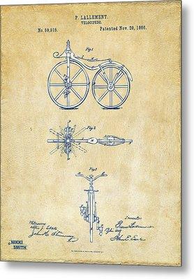 Vintage 1866 Velocipede Bicycle Patent Artwork Metal Print by Nikki Marie Smith