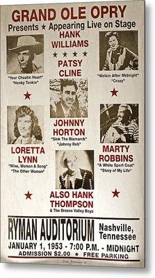 Vintage 1953 Grand Ole Opry Poster Metal Print by John Stephens