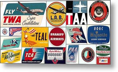 Vintage Airlines Logos Metal Print by Don Struke