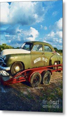 Vintage American Military Police Car Metal Print by Kathy Fornal
