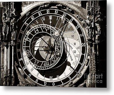 Vintage Astronomical Clock Metal Print by John Rizzuto