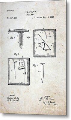 Vintage Baseball Base Patent Metal Print by Paul Ward