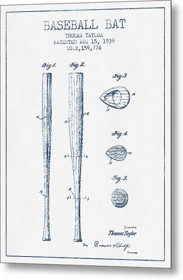 Vintage Baseball Bat Patent From 1939 - Blue Ink Metal Print by Aged Pixel