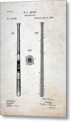 Vintage Baseball Bat Patent Metal Print by Paul Ward