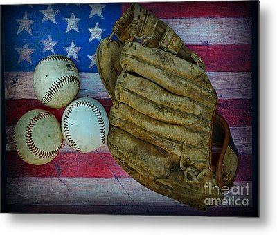 Vintage Baseball Glove And Baseballs On American Flag Metal Print by Paul Ward