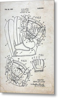 Vintage Baseball Glove Patent Metal Print by Paul Ward