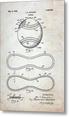 Vintage Baseball Patent Metal Print by Paul Ward