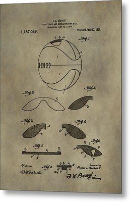 Vintage Basketball Patent Metal Print by Dan Sproul