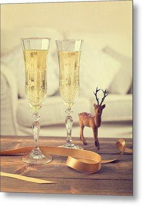 Vintage Champagne Metal Print by Amanda Elwell