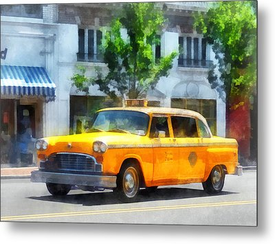 Vintage Checkered Cab Metal Print by Susan Savad