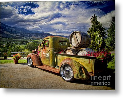 Vintage Chevy Truck At Oliver Twist Winery Metal Print by David Smith
