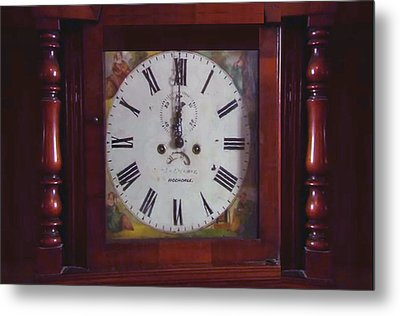 Vintage Clock Wallclock Swiss Time Period Minute Second Hour Calculate Border Frame Wooden Case Wood Metal Print by Navin Joshi