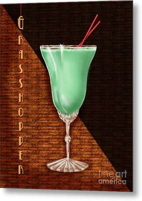 Vintage Cocktails-grasshopper Metal Print by Shari Warren