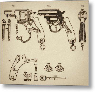Vintage Colt Revolver Drawing Metal Print by Nenad Cerovic