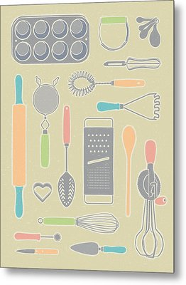 Vintage Cooking Utensils With Pastel Colors Metal Print by Mitch Frey
