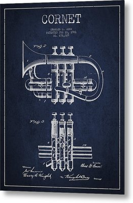 Cornet Patent Drawing From 1901 - Blue Metal Print by Aged Pixel