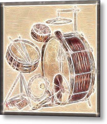 Vintage Drums Metal Print by Russell Pierce