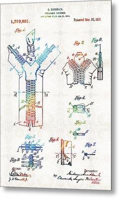 Vintage Fashion Art - Zipper Patent - By Sharon Cummings Metal Print by Sharon Cummings