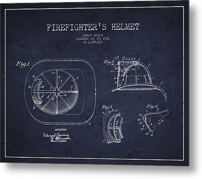 Vintage Firefighter Helmet Patent Drawing From 1932 - Navy Blue Metal Print by Aged Pixel