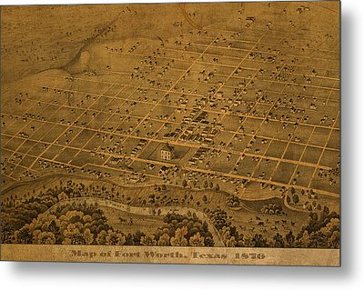 Vintage Fort Worth Texas In 1876 City Map On Worn Canvas Metal Print by Design Turnpike