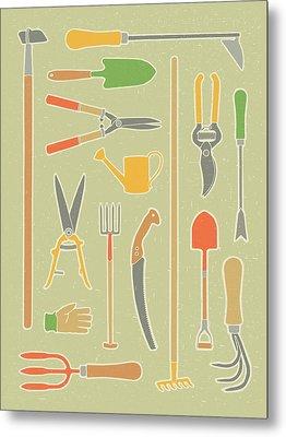 Vintage Garden Tools Metal Print by Mitch Frey