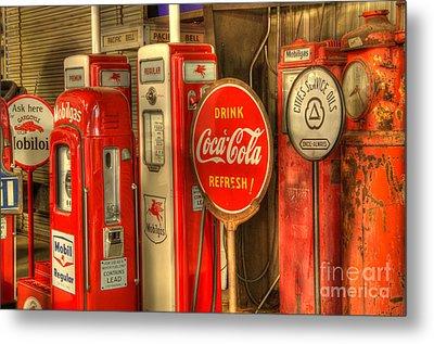 Vintage Gasoline Pumps With Coca Cola Sign Metal Print by Bob Christopher