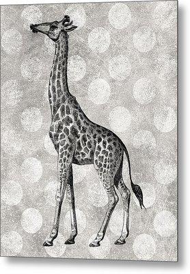 Gray Giraffe Metal Print by Flo Karp