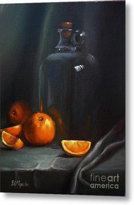 Vintage Glass Jug And  Oranges Metal Print by Viktoria K Majestic