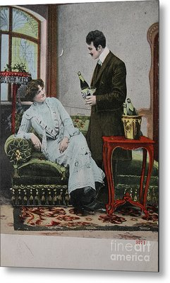 Vintage Handtinted Postcard Of 1904 Of Two Lovers Metal Print by Patricia Hofmeester