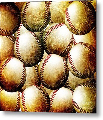 Vintage Look Baseballs Metal Print by Andee Design