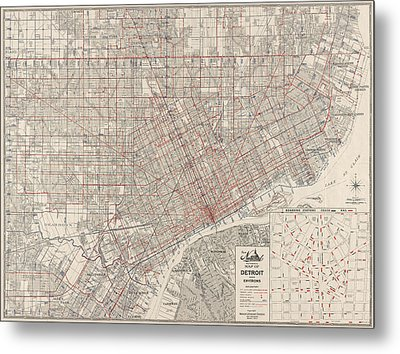 Vintage Map Of Detroit Michigan From 1947 Metal Print by Blue Monocle