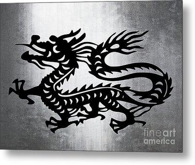 Vintage Metal Dragon Metal Print by Roz Abellera Art