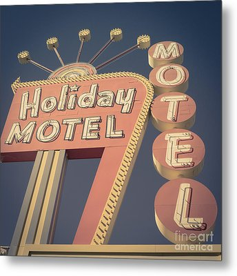 Vintage Motel Sign Square Metal Print by Edward Fielding