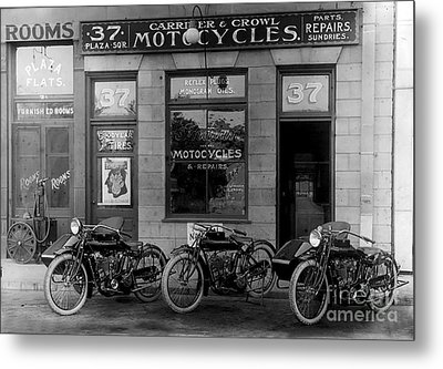 Vintage Motorcycle Dealership Metal Print by Jon Neidert
