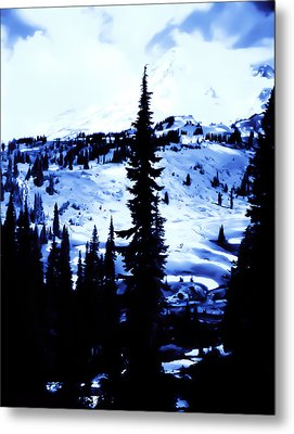 Vintage Mount Rainier With Camp Grounds In The Distance Early 1900 Era... Metal Print by Eddie Eastwood