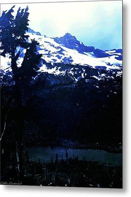 Vintage Mount Rainier With Reflexion Lake Early 1900 Era... Metal Print by Eddie Eastwood