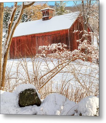 Vintage New England Barn Portrait Square Metal Print by Bill Wakeley
