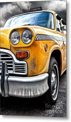 Vintage Nyc Taxi Metal Print by John Farnan