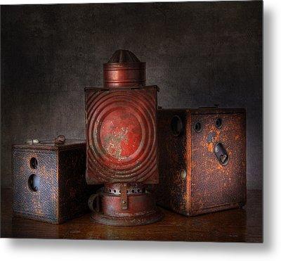 Vintage Oil Darkroom Lamp Metal Print by David and Carol Kelly