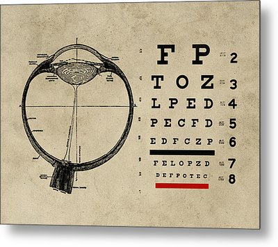 Vintage Ophthalmologist Eye Chart Metal Print by Flo Karp