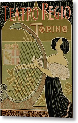 Vintage Poster Advertising The Theater Royal Turin Metal Print by Italian School
