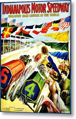Vintage Poster - Sports - Indy 500 Metal Print by Benjamin Yeager