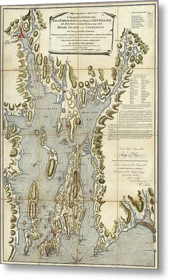 Vintage Rhode Island 1777 Map Metal Print by Dan Sproul