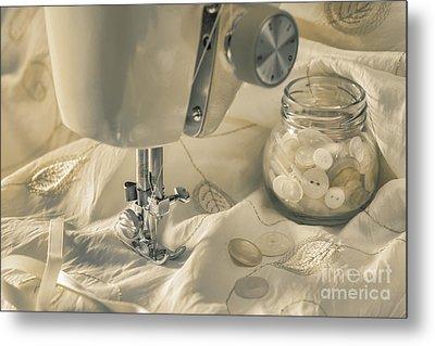 Vintage Sewing Machine Metal Print by Amanda Elwell