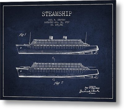 Vintage Steamship Patent From 1937 Metal Print by Aged Pixel
