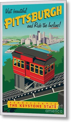 Vintage Style Pittsburgh Incline Travel Poster Metal Print by Jim Zahniser
