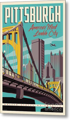 Vintage Style Pittsburgh Travel Poster Metal Print by Jim Zahniser